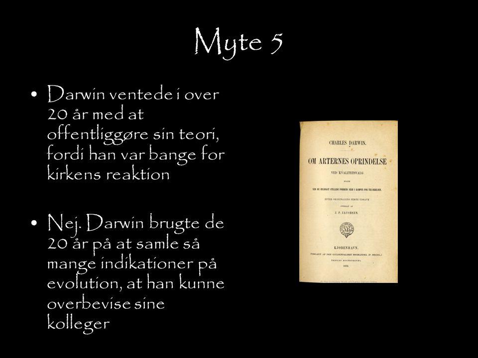 Myte 5 Darwin ventede i over 20 år med at offentliggøre sin teori, fordi han var bange for kirkens reaktion.