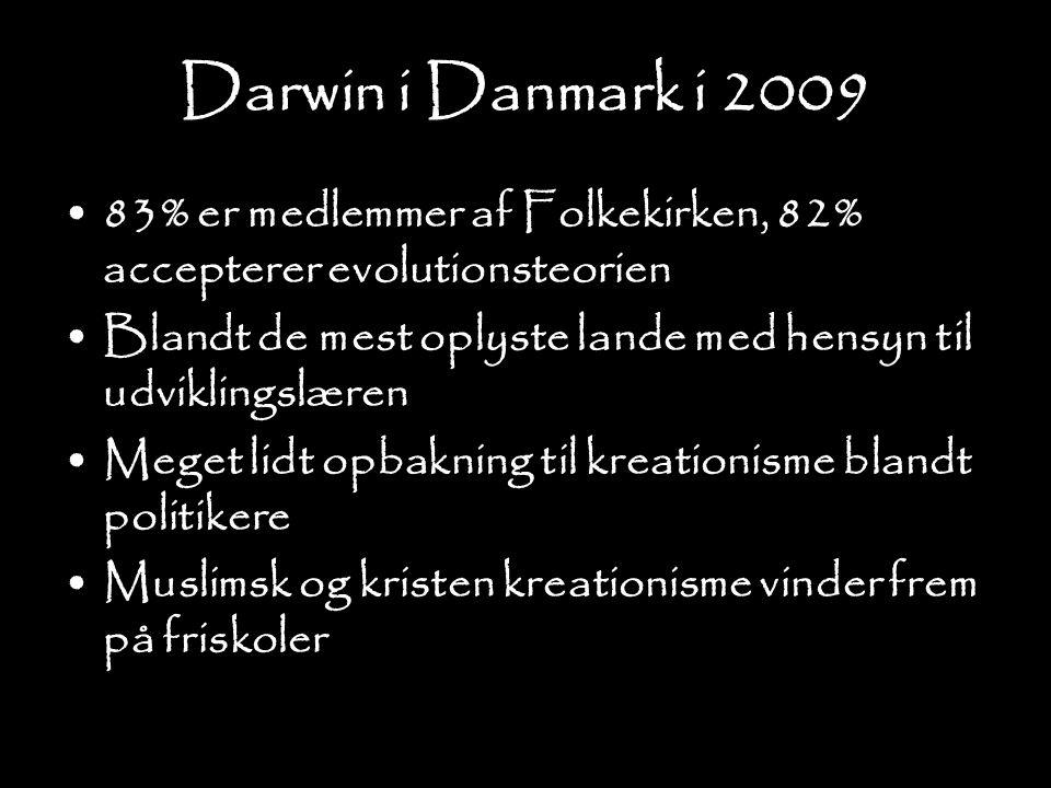 Darwin i Danmark i 2009 83% er medlemmer af Folkekirken, 82% accepterer evolutionsteorien.