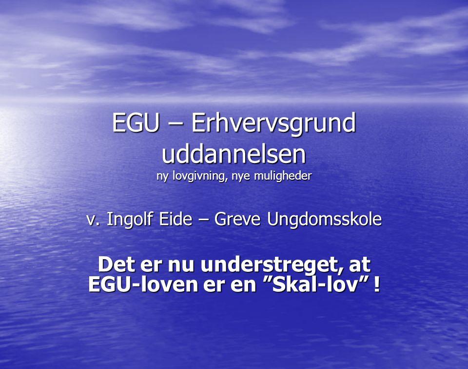 EGU – Erhvervsgrund uddannelsen ny lovgivning, nye muligheder