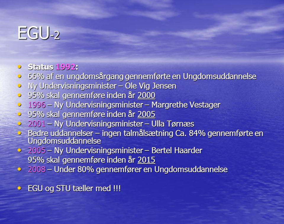EGU-2 Status 1992: 66% af en ungdomsårgang gennemførte en Ungdomsuddannelse. Ny Undervisningsminister – Ole Vig Jensen.