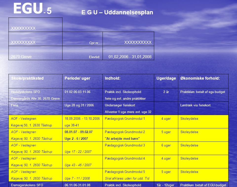 EGU- 5 E G U – Uddannelsesplan