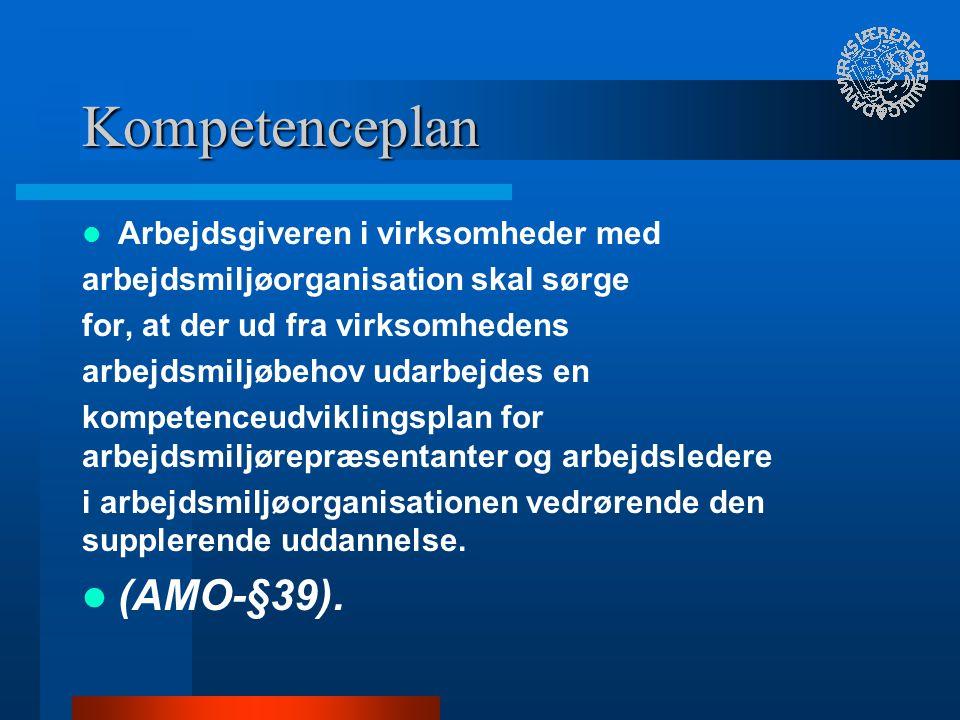 Kompetenceplan (AMO-§39). Arbejdsgiveren i virksomheder med