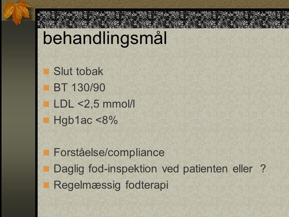 behandlingsmål Slut tobak BT 130/90 LDL <2,5 mmol/l Hgb1ac <8%