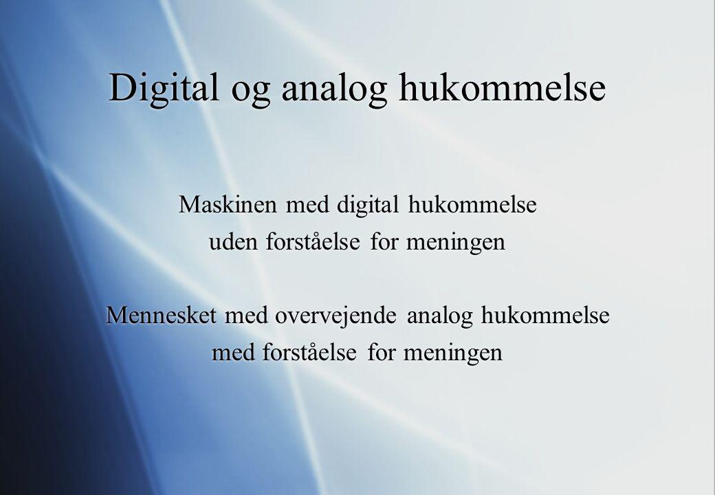 Digital og analog hukommelse