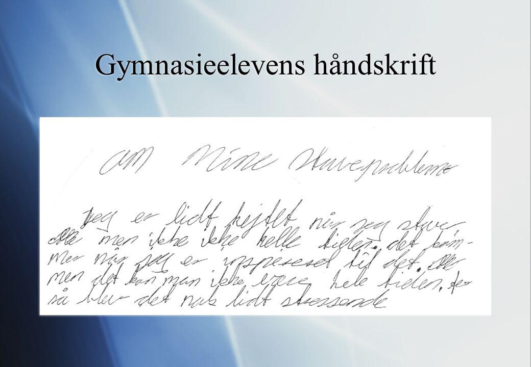 Gymnasieelevens håndskrift