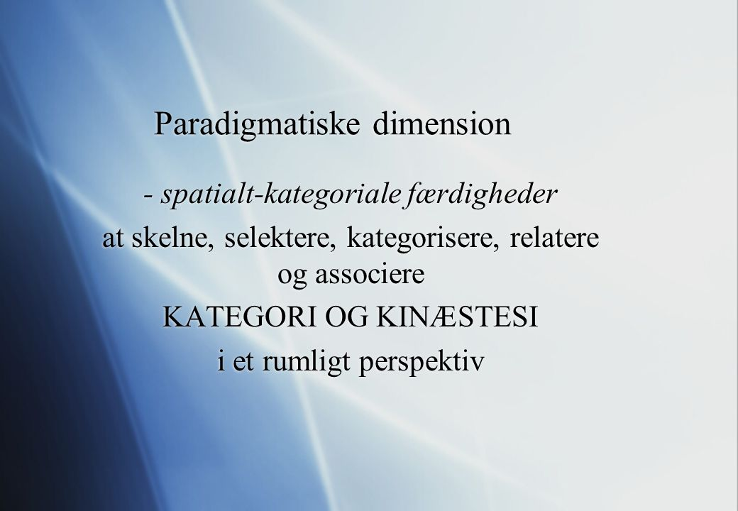 Paradigmatiske dimension