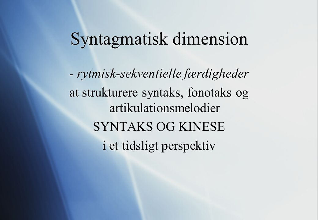 Syntagmatisk dimension