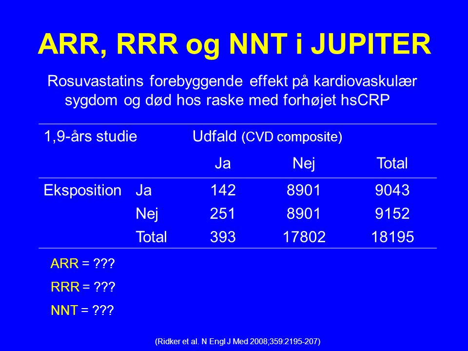 ARR, RRR og NNT i JUPITER Rosuvastatins forebyggende effekt på kardiovaskulær sygdom og død hos raske med forhøjet hsCRP.