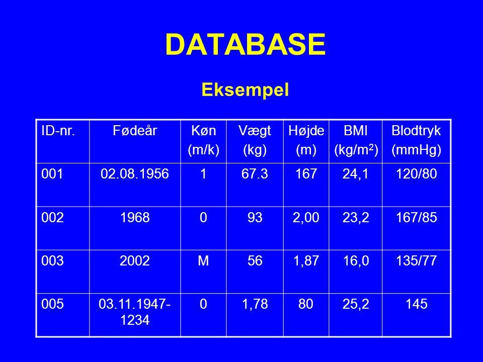 DATABASE Eksempel ID-nr. Fødeår Køn (m/k) Vægt (kg) Højde (m) BMI