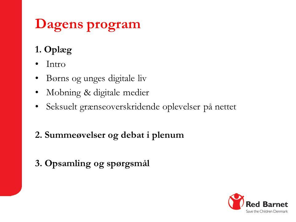 Dagens program 1. Oplæg Intro Børns og unges digitale liv