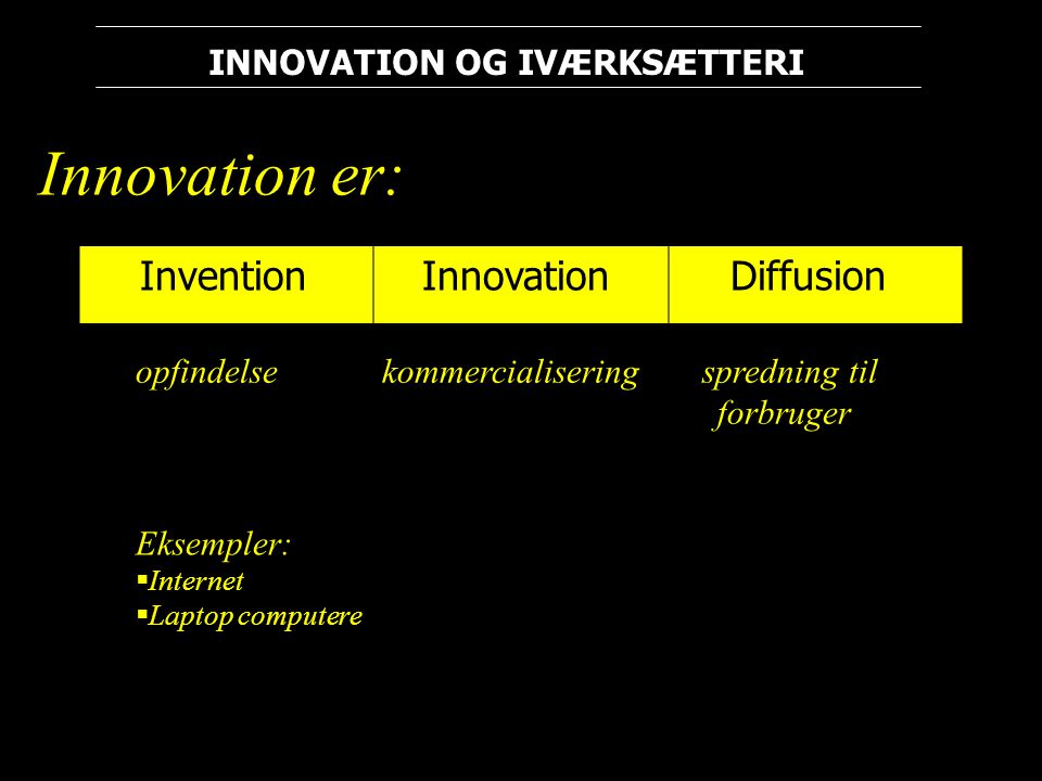 Innovation er: Invention Innovation Diffusion