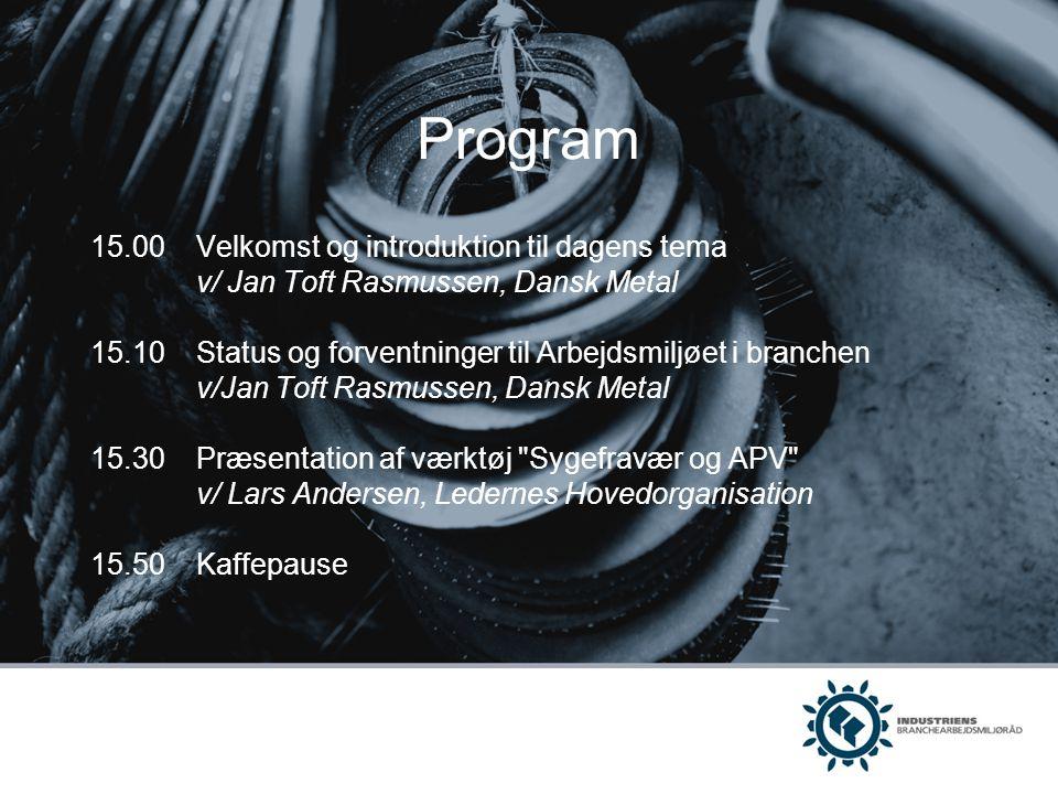 Program 15.00 Velkomst og introduktion til dagens tema