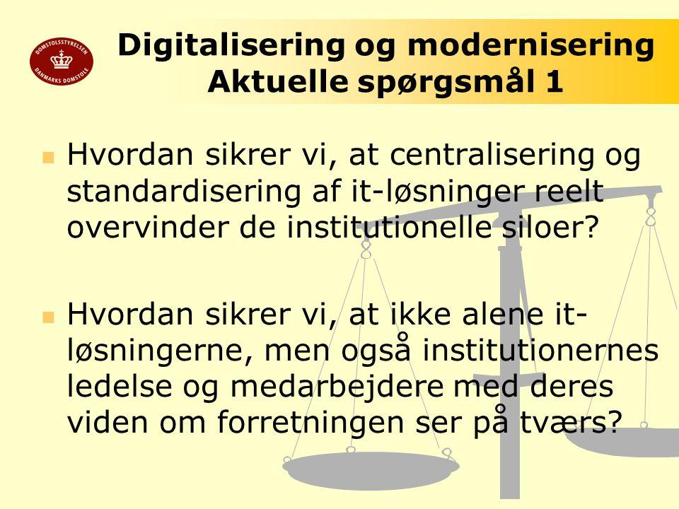 Digitalisering og modernisering Aktuelle spørgsmål 1