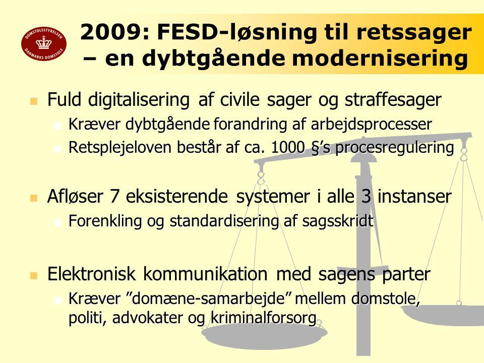 2009: FESD-løsning til retssager – en dybtgående modernisering
