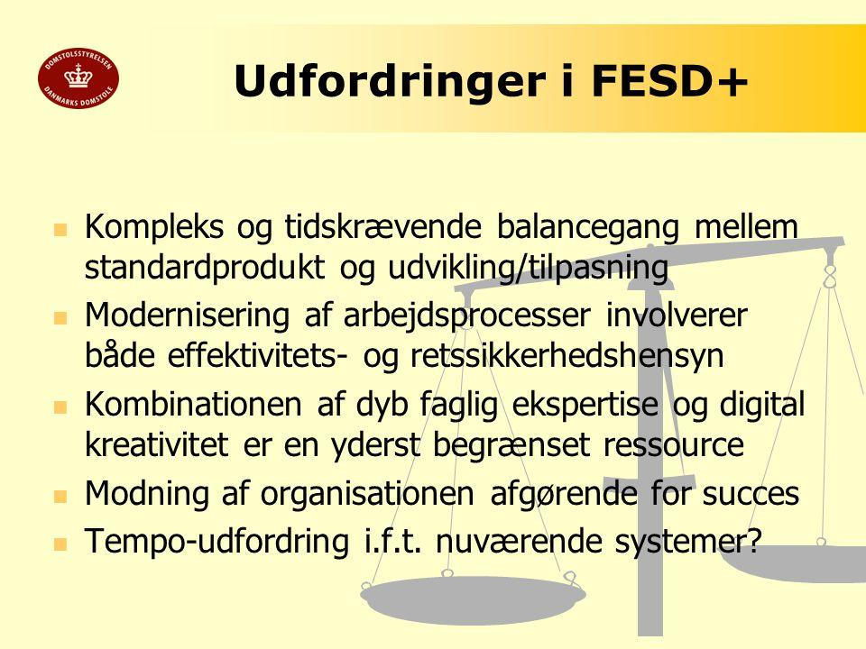 Udfordringer i FESD+ Kompleks og tidskrævende balancegang mellem standardprodukt og udvikling/tilpasning.