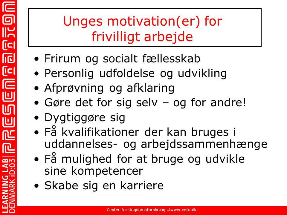 Unges motivation(er) for frivilligt arbejde