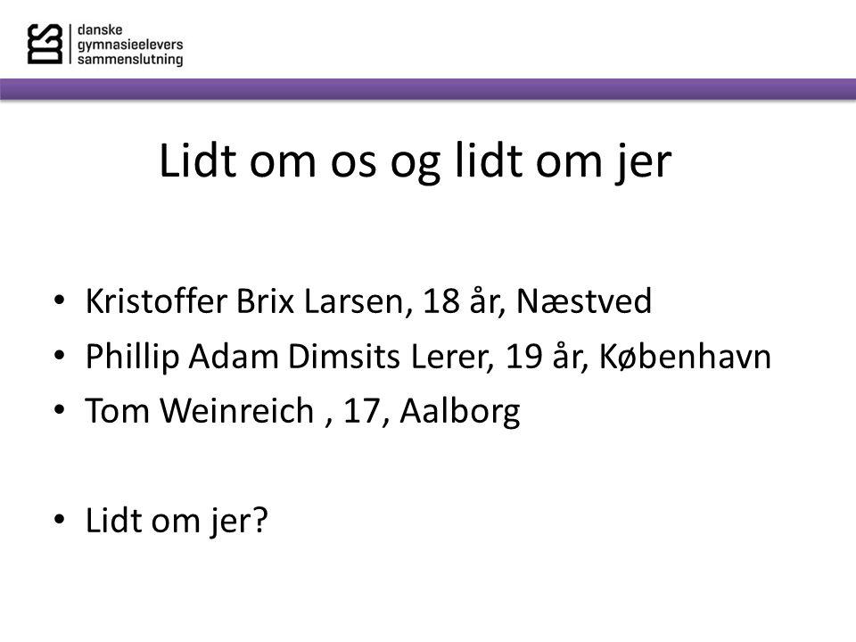Lidt om os og lidt om jer Kristoffer Brix Larsen, 18 år, Næstved