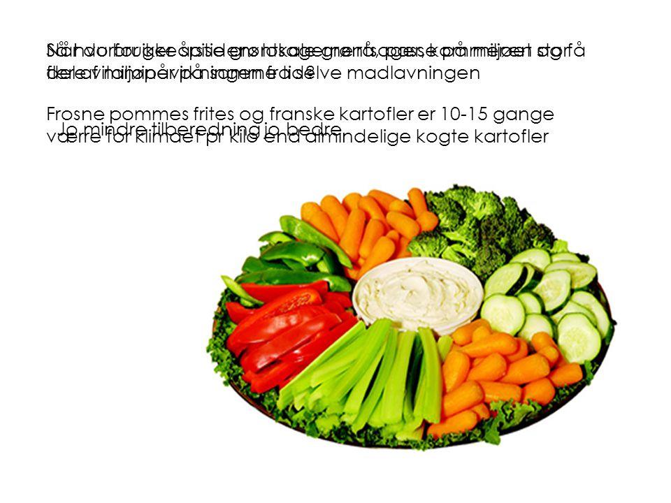 Når du bruger årstidens lokale grøntsager, kommer en stor del af miljøpåvirkningen fra selve madlavningen