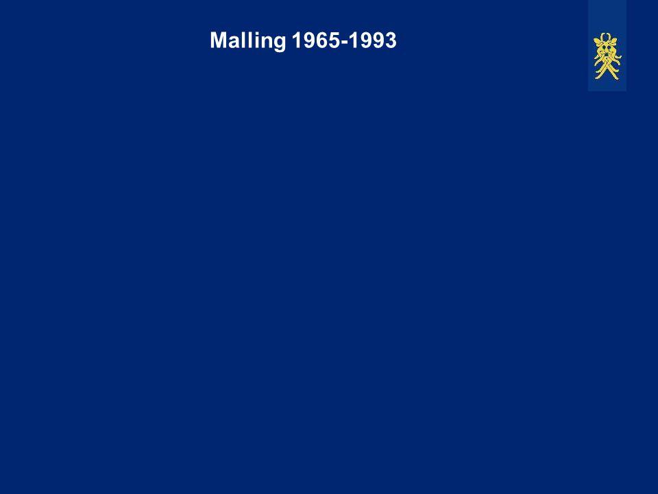 Malling 1965-1993 1965: Her ses en massiv udstykning i den nordøstlige del af Malling, og mod sydvest er udstykning i gang.