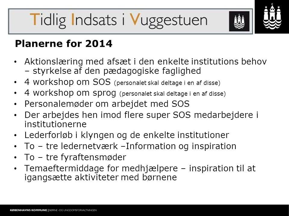 Planerne for 2014 Aktionslæring med afsæt i den enkelte institutions behov – styrkelse af den pædagogiske faglighed.