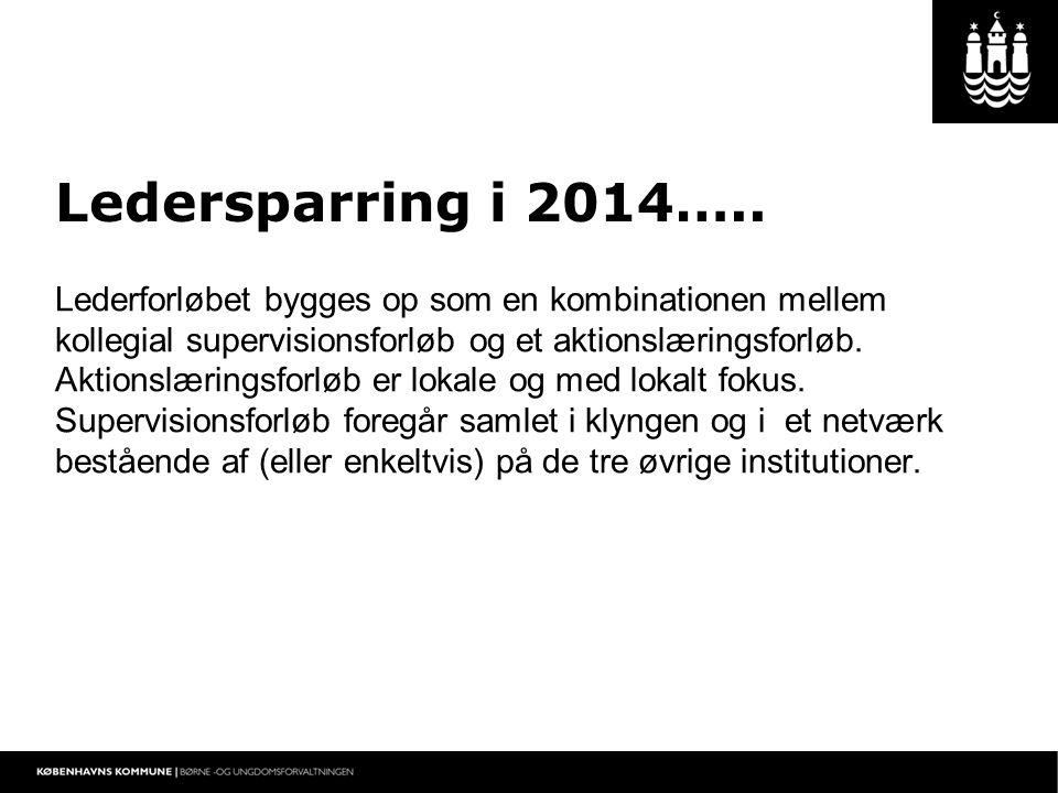 Ledersparring i 2014….. Lederforløbet bygges op som en kombinationen mellem kollegial supervisionsforløb og et aktionslæringsforløb.