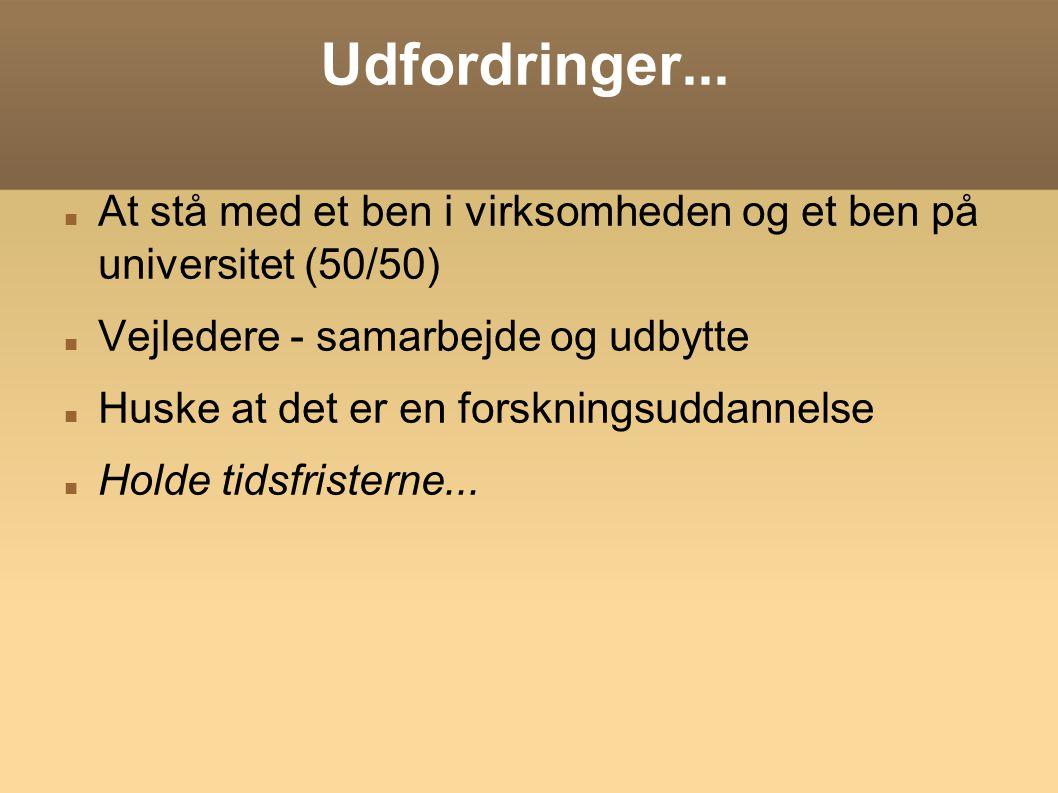 Udfordringer... At stå med et ben i virksomheden og et ben på universitet (50/50) Vejledere - samarbejde og udbytte.