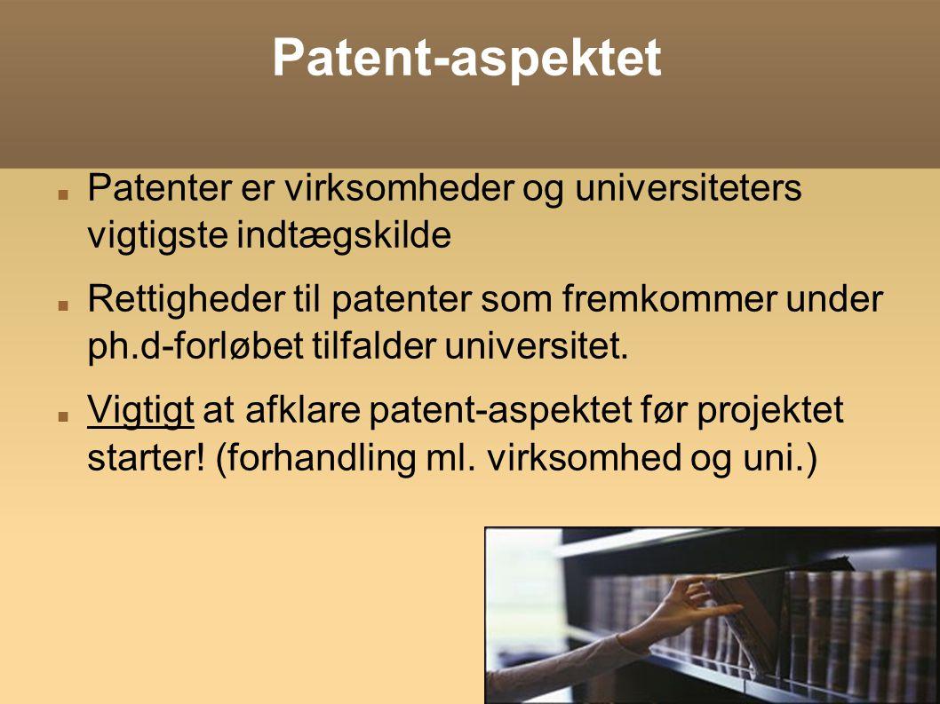 Patent-aspektet Patenter er virksomheder og universiteters vigtigste indtægskilde.
