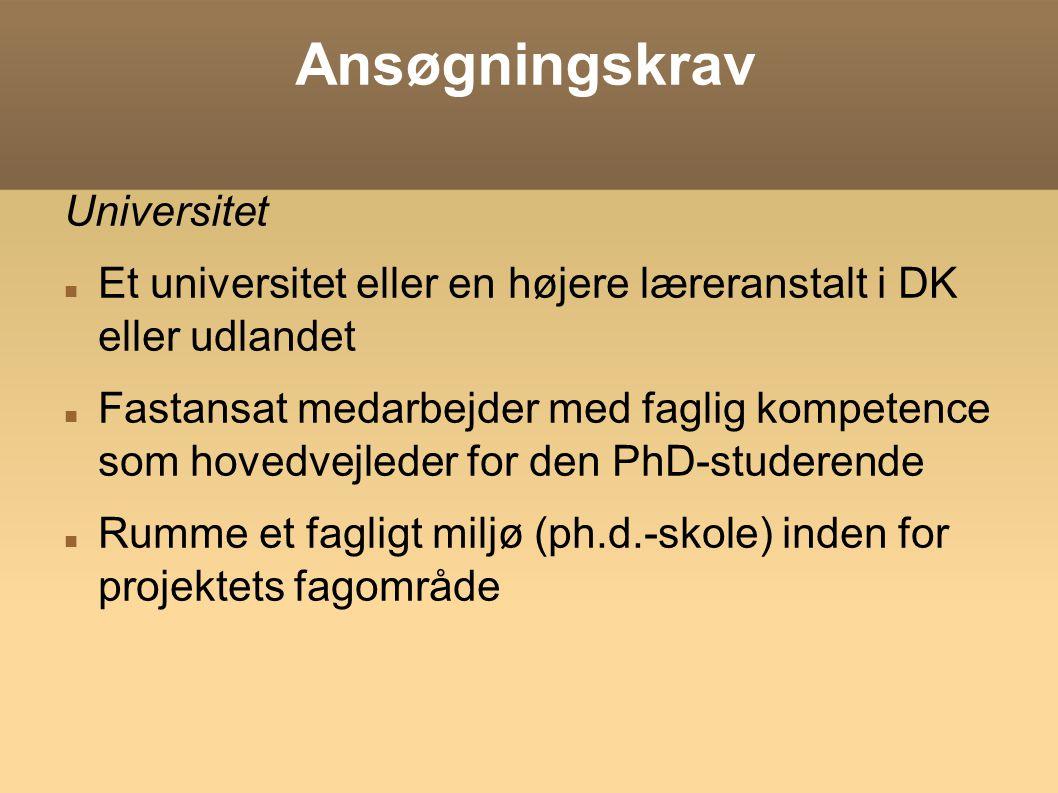 Ansøgningskrav Universitet