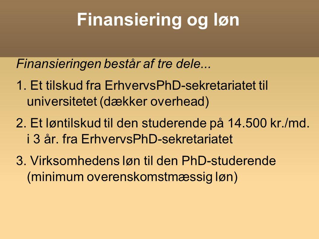 Finansiering og løn Finansieringen består af tre dele...