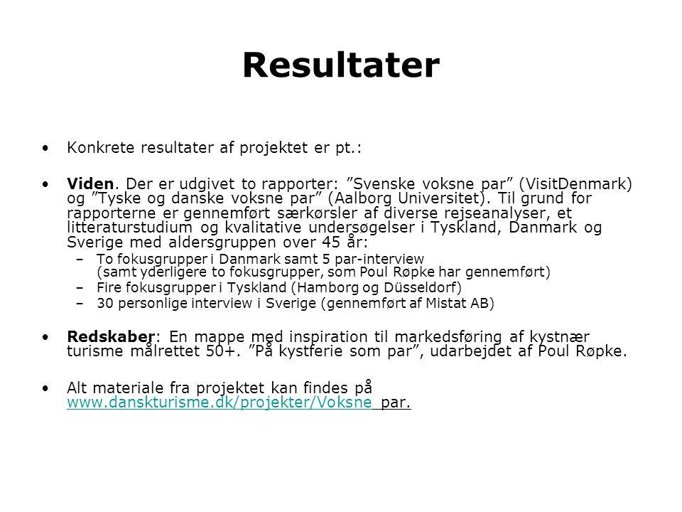 Resultater Konkrete resultater af projektet er pt.: