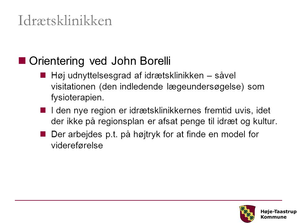 Idrætsklinikken Orientering ved John Borelli