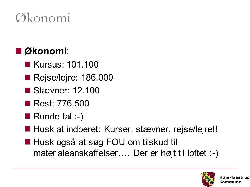 Økonomi Økonomi: Kursus: 101.100 Rejse/lejre: 186.000 Stævner: 12.100