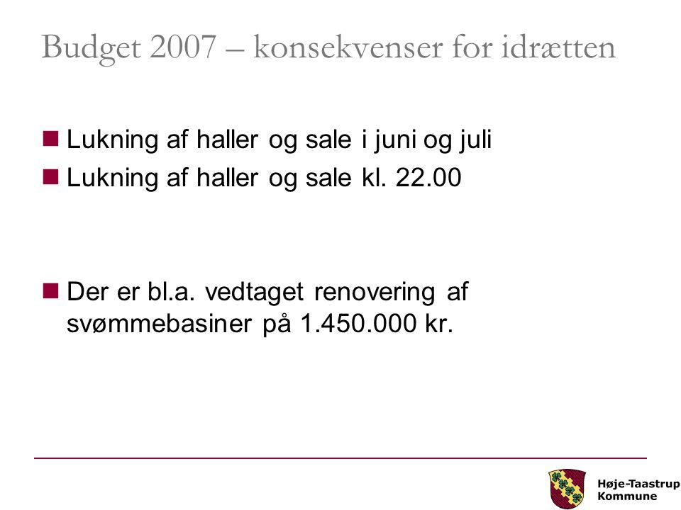 Budget 2007 – konsekvenser for idrætten