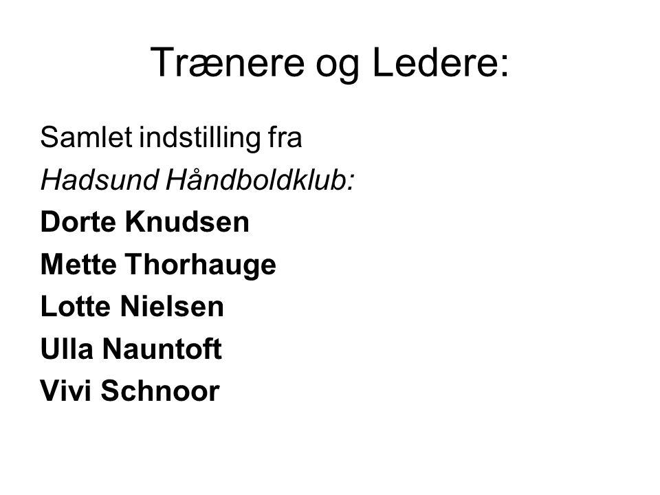 Trænere og Ledere: Samlet indstilling fra Hadsund Håndboldklub: