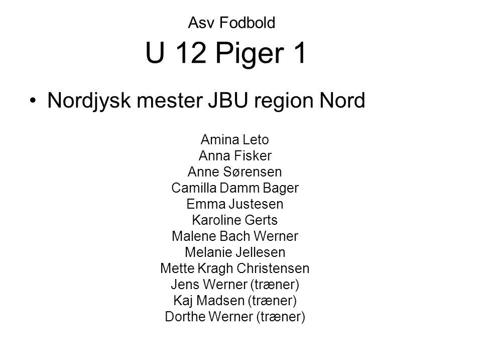 U 12 Piger 1 Nordjysk mester JBU region Nord Asv Fodbold Amina Leto
