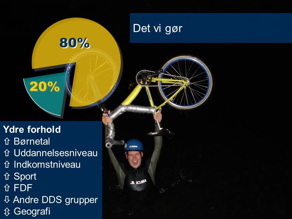 Det vi gør 80% 20% Ydre forhold  Børnetal  Uddannelsesniveau  Indkomstniveau  Sport  FDF  Andre DDS grupper  Geografi.
