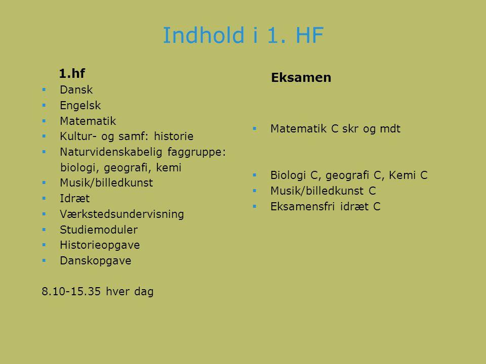 Indhold i 1. HF 1.hf Eksamen Dansk Engelsk Matematik