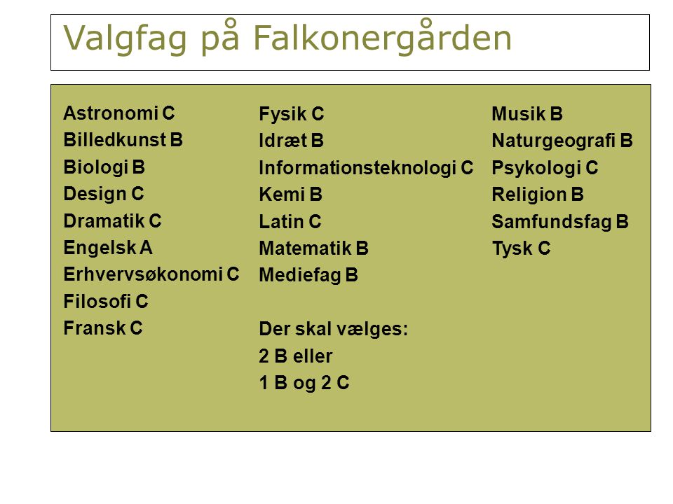 Valgfag på Falkonergården