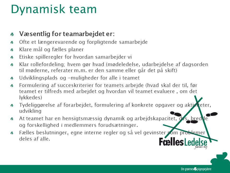 Dynamisk team Væsentlig for teamarbejdet er: