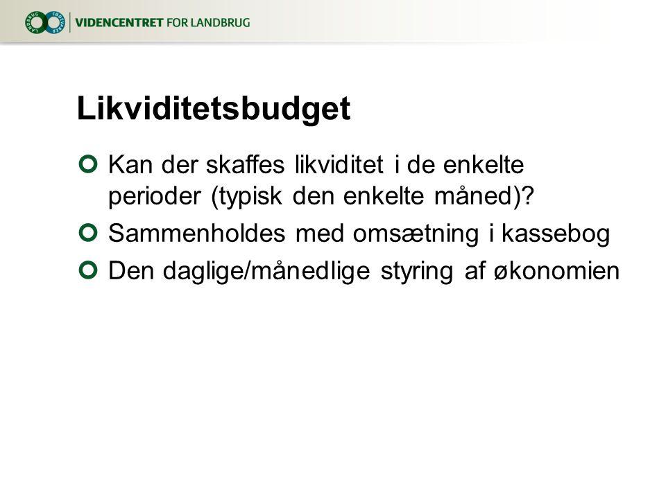 Likviditetsbudget Kan der skaffes likviditet i de enkelte perioder (typisk den enkelte måned) Sammenholdes med omsætning i kassebog.