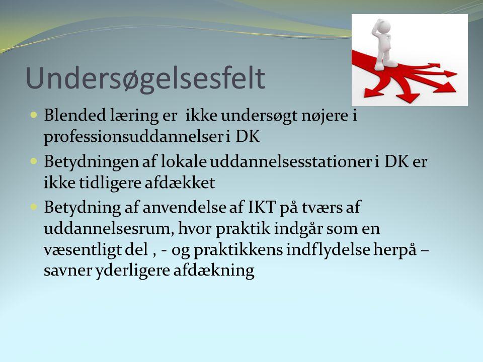 Undersøgelsesfelt Blended læring er ikke undersøgt nøjere i professionsuddannelser i DK.