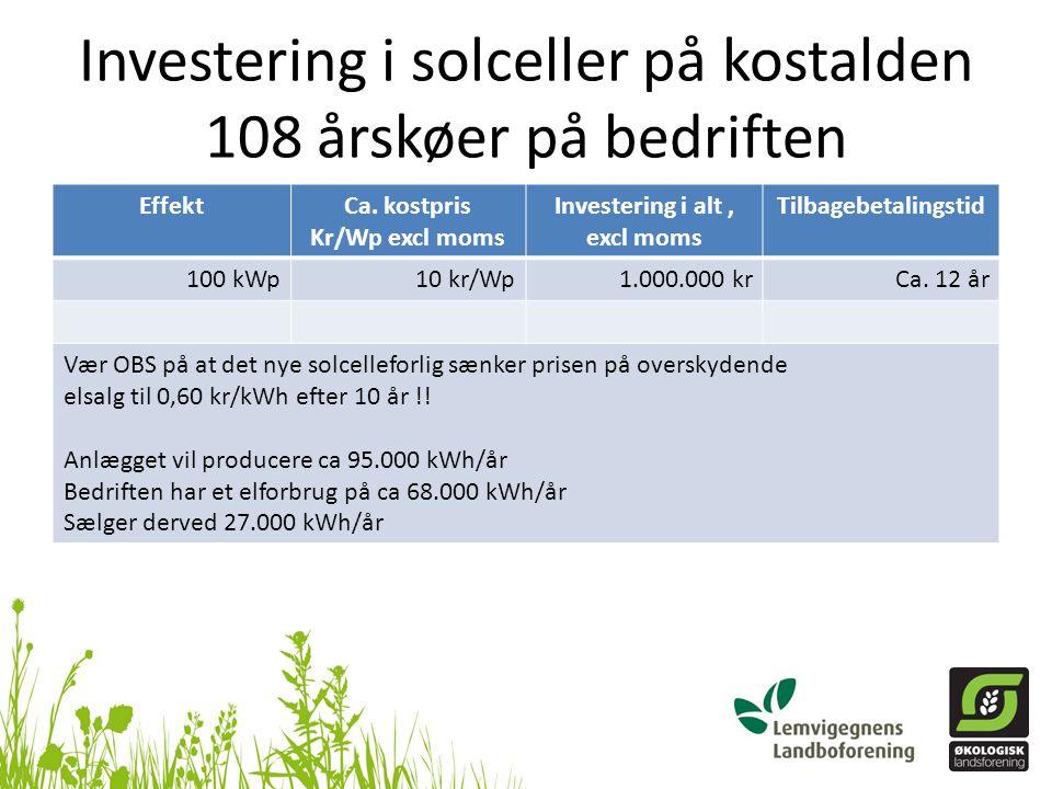 Investering i solceller på kostalden 108 årskøer på bedriften