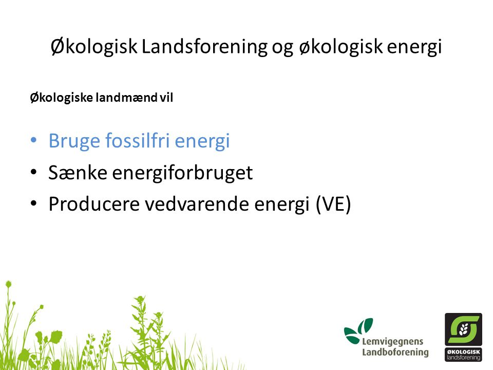 Økologisk Landsforening og økologisk energi