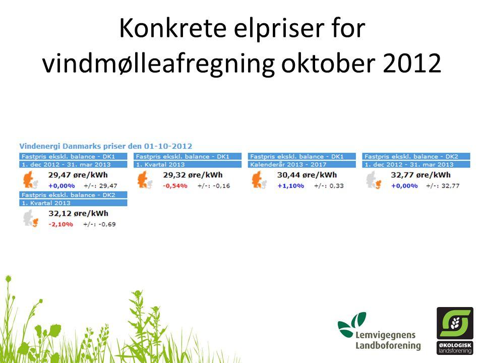 Konkrete elpriser for vindmølleafregning oktober 2012