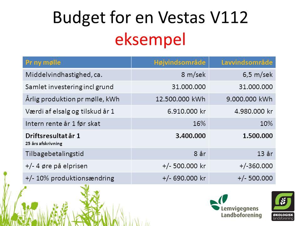 Budget for en Vestas V112 eksempel