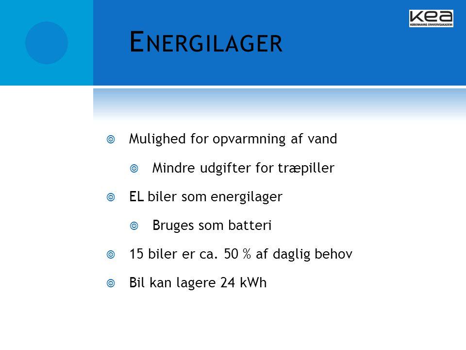 Energilager Mulighed for opvarmning af vand