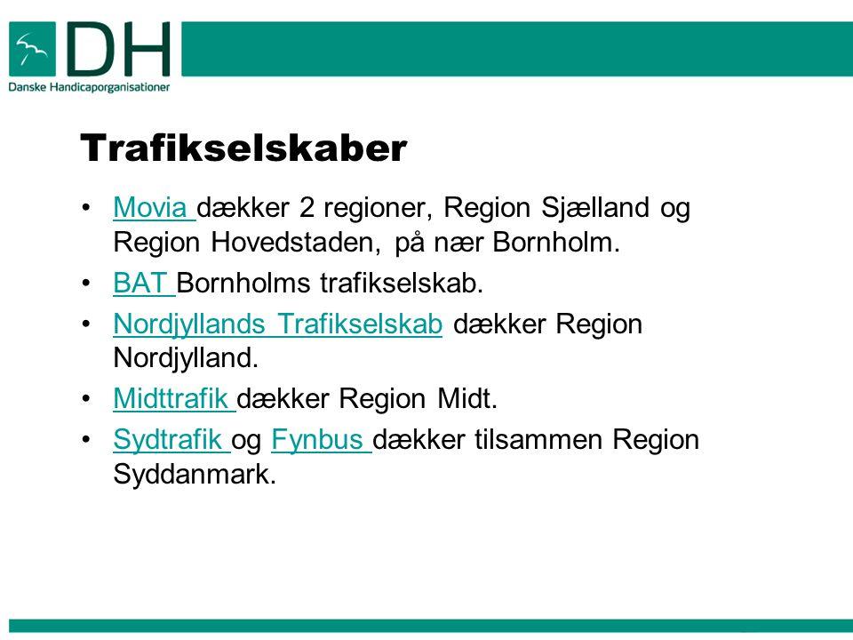 Trafikselskaber Movia dækker 2 regioner, Region Sjælland og Region Hovedstaden, på nær Bornholm. BAT Bornholms trafikselskab.