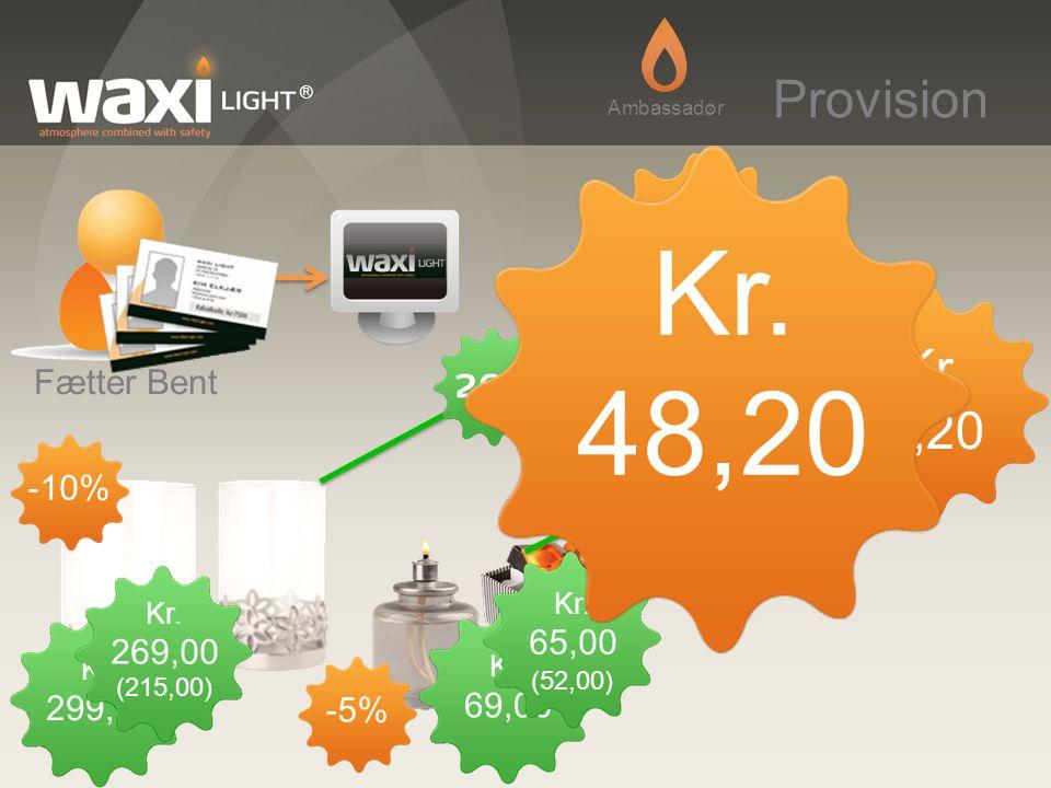 Kr. 48,20 Provision Kr. 43,00 Kr. 5,20 Fætter Bent -10% 65,00 269,00