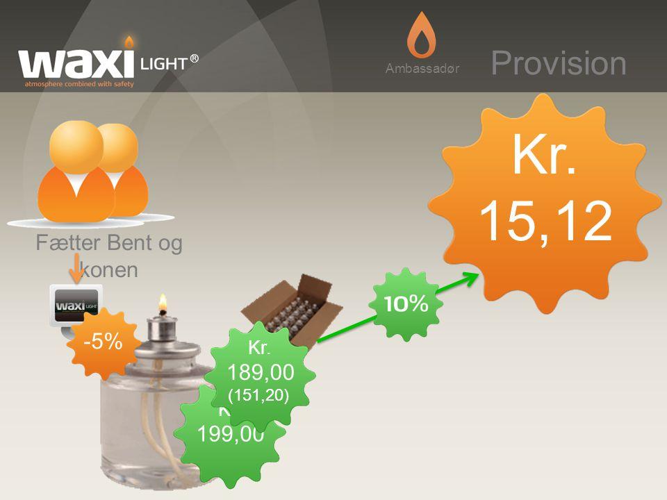 Kr. 15,12 Provision Fætter Bent og konen -5% 189,00 199,00 Kr. Kr.
