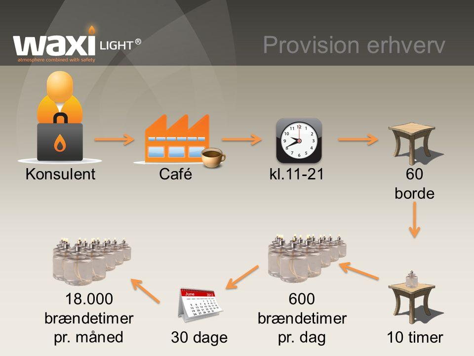 Provision erhverv Konsulent Café kl.11-21 60 borde 600 brændetimer